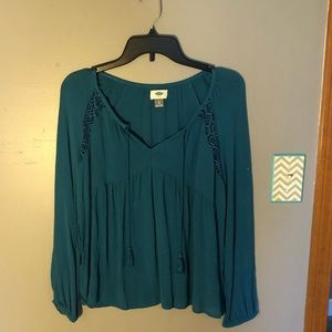 Long Sleeve Blue Shirt with Tassles